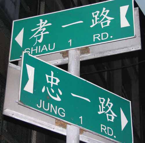 photo of street signs in Jilong. One sign reads 'JUNG 1 RD', the other 'SHIAU 1 RD'