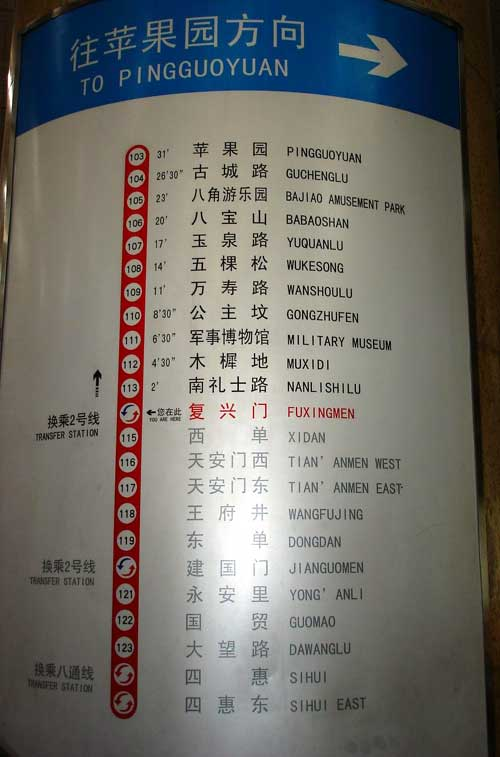 column-mounted list of station names along one particular Beijing subway line