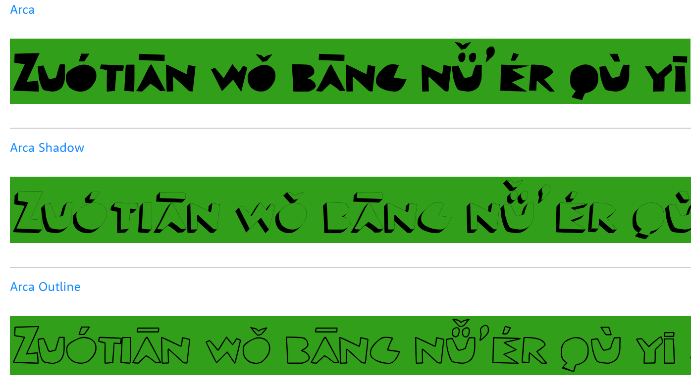 sample of the font Arca with a Pangram in Hanyu Pinyin