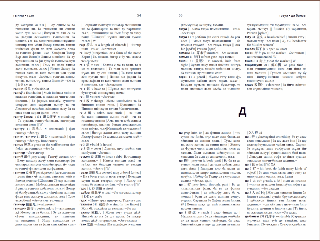 Dungan-English Dictionary sample page spread